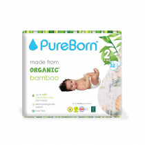 PureBorn Size 2 single pack nappy 3 to 6 kg 32 pcs - Tropic