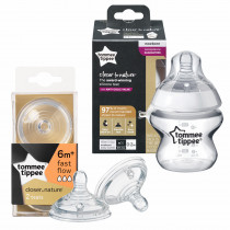 Tommee Tippee Closer to Nature  Feeding Bottle (150ml) +  Closer to Nature Easi-vent Fast Flow Teats (2's)