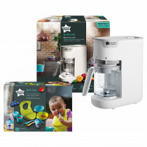 Tommee Tippee Quick Cook Baby Food Steamer Blender ( White) and Weaning Kit