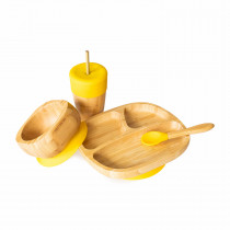Toddler Plate, Straw Cup, Bowl & Spoon combo in Yellow