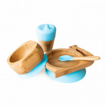 Snail Plate, Feeder Cup, Bowl & Spoon combo in Blue