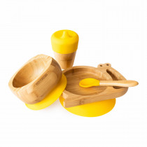 Snail Plate, Feeder Cup, Bowl & Spoon combo in Yellow