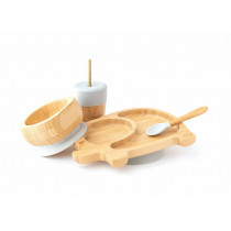 Elephant Plate, Straw Cup, Bowl & Spoon combo in Grey