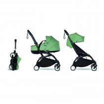 Complete BABYZEN stroller YOYO2 FRAME Black & 0+ newborn pack Peppermint and 6+ color pack