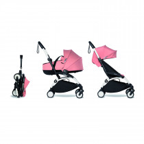 Complete BABYZEN stroller YOYO2 FRAME White &  0+ newborn pack Ginger and 6+ color pack