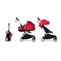 Complete BABYZEN stroller YOYO2 FRAME White &  0+ newborn pack Red and 6+ color pack