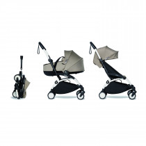Complete BABYZEN stroller YOYO2 FRAME White & 0+ newborn pack Taupe and 6+ color pack