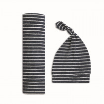 Snuggle Knit Swaddle Gift Set Navy Stripe