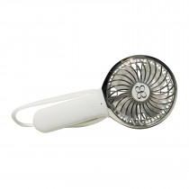 3 Speed Rechargeable Turbo Fan - White/Chrome