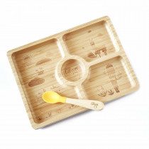 Bamboo Plate Suction + Spoon - Square Yellow