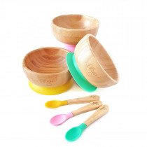 Bamboo Bowl Suction + Spoon - Yellow