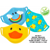 Kids Organic Reusable Cloth Face Masks 3 Pc Set - Duck Multi