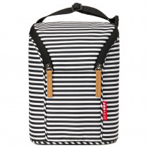 Grab & Go Double Bottle Bag-Black/White Stripes