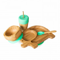 Elephant Plate, Straw Cup, Bowl & Spoon combo in Green