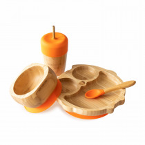 Owl Plate, Straw Cup, Bowl & Spoon combo in Orange