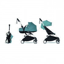 Complete BABYZEN stroller YOYO2 FRAME White  0+ newborn pack AQUA and 6+ color pack