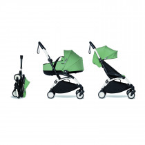 Complete BABYZEN stroller YOYO2 FRAME White &  0+ newborn pack Peppermint and 6+ color pack