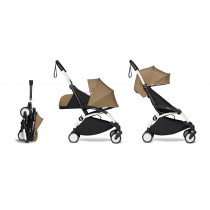 complete BABYZEN stroller YOYO2 0+ and 6+  White Frame & Toffee