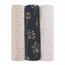 Classic Metallic 3 Pack Swaddles- Gold Deco