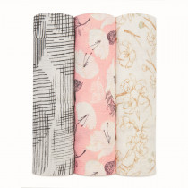Silky Soft 3 Pack Swaddles - Pretty Petals