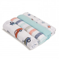 ADEN 4-Pack Classic Muslin Swaddles HIT THE ROAD