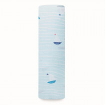 Essentials Classic Muslin Single Swaddle - Making Waves