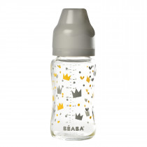Wide Neck Glass Bottle 240mlYellow/Grey Crown