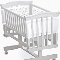 Mesh Crib Liner - Twinkle Twinkle −  White With Grey Stars
