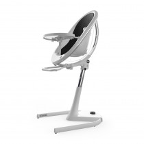 Moon Full Set NEW (Highchair + Seat Pad + Cushion Set + Footrest) − Black - White Frame (FREE moon Seat Pad Silver)