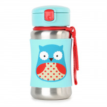 Zoo Stainless Steel Straw Bottle - Owl