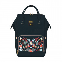 Diaper Bag - Black Embroidery