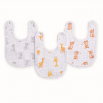 Essentials 3 Pack Classic Snap Bibs - Safari Babes