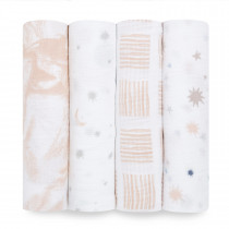 Essentials 4 Pack Classic Muslin Swaddles - To the Moon