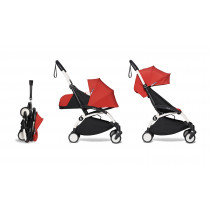 complete BABYZEN stroller YOYO2 0+ and 6+  White Frame & Red