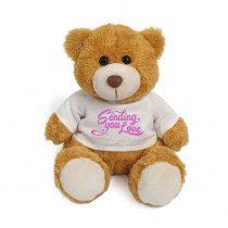 Plush Teddy Golden Brown with Sending You Love on White
