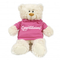 Cream Bear with  Congratulations on Pink