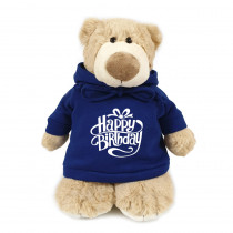 Mascot Bear with Happy Birthday on Blue Hoodie