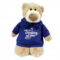 Mascot  Bear with Thinking of You on Blue