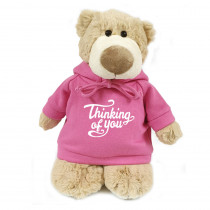 Mascot Bear with Thinking of You on Pink