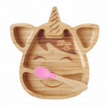 Bamboo Plate Suction + Spoon - Unicorn Pink