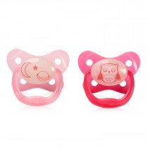 PreVent Glow in the Dark BUTTERFLY SHIELD Pacifier, Stage 2-6-12M - pink, 2-Pack