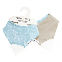Double Sided Organic Chew Bib - Sky / Earth