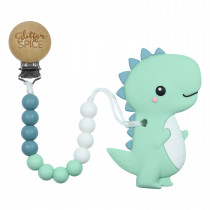 Teether with Clip - T-Rex