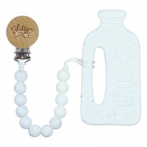 Teether with Clip - Milk Speckled White