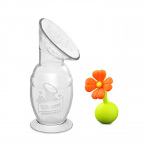 150Ml Silicone Breast Pump & Flower Stopper Giftbox Set - Orange