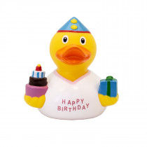 Bath Toy-Birthday Girl Duck  - White/yellow