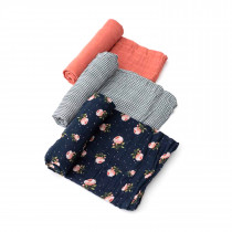 Cotton MuslinSwaddle 3 Pack -Midnight Rose
