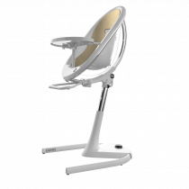 Moon Full Set (Highchair + Seat Pad + Cushion Set + Footrest) - White Frame- Champ Gold (FREE Moon Seat Pad SILVER)