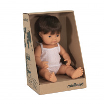 Baby Doll Brown Hair Boy 38cm