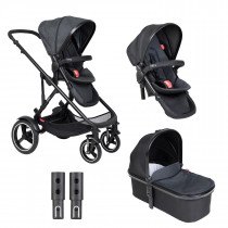 Voyager Buggy & Carrycot - Twin Package - Black